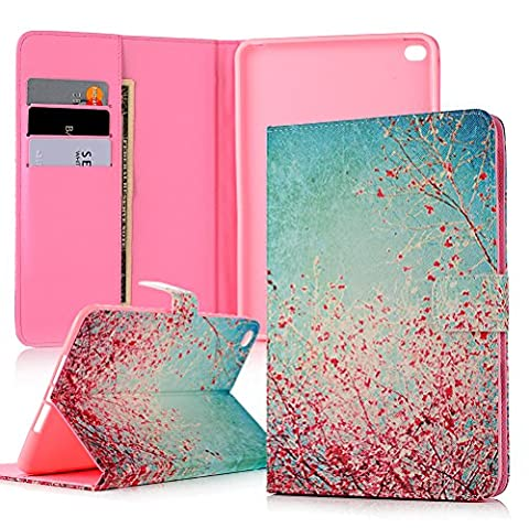 iPad Mini 4 Case - Lanveni Premium PU Leather Wallet Case, Flip Book Case, Wallet Cover with Soft Silicone Back Stand Function, Card Slots, Magnetic Closure for iPad Mini 4 ,Blossom Sakura
