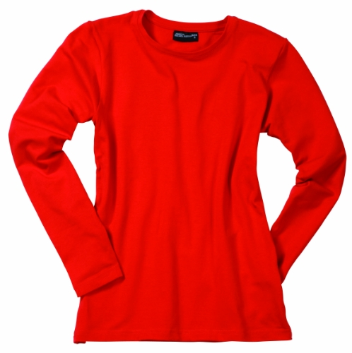 James & Nicholson - Langarm T-shirt Tangy, Camicia Donna Rosso (Red)