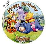 personalisierbar Winnie the Pooh Essbarer Zuckerguss Kuchen Topper 19,1cm vorgeschnittenen - Rund