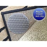 Antideslizante alfombra almohadillas para Rug-On-Carpet Anti-Slip. Diseñado para alfombras de pelo mediano. 12unidades. Destinado a límite múltiples alfombrillas de alfombras/ejercicio/felpudos de movimiento en alfombras de pelo mediano. Nuevo diseño.