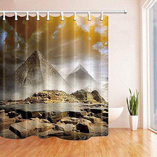 CDHBH 3D Digital Druck Antike Ägyptische Decor Sturm Wolken über Pyramiden Polyester-Duschvorhang Schimmelresistent-Badezimmer Dekoration Bad Vorhänge Haken Enthalten 180,3x 180,3cm Sturm-snap