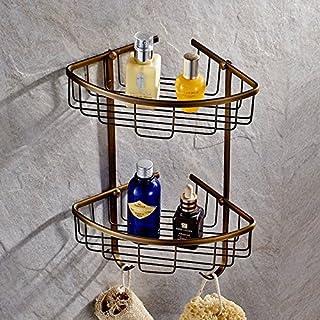 auswind massivem Messing Kosmetik 2Schichten Eckregal Bronze Öl gebürstet Badezimmer Hardware H7