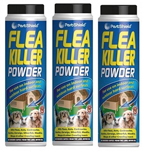 PestShield Polvo insecticida para pulgas e insectos rastreros, ideal para interiores y exteriores de 200 g por unidad, 3 unidades