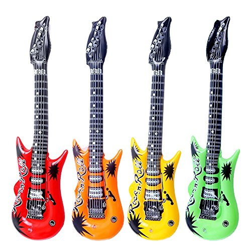 Pack of 4 Mixed Colours Inflatable Guitars for Kids Rock Star Fancy Dress