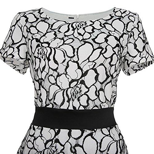 iShine Robe de Soirée Dentelle Femmes Cocktail Imprimé Robe Casual Blanc