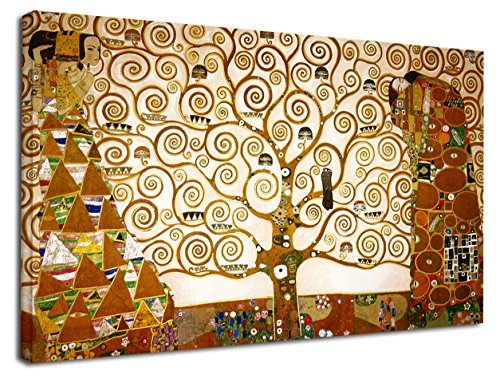 GRAFIC Quadro Klimt L\'Albero della Vita - Gustav Klimt The Tree of Life Quadro stampa su tela canvas con o senza telaio (CM 130X76, QUADRO CON TELAIO IN LEGNO)