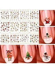 Starworld Christmas 12 Pieces 3D Nail Art Stickers Decals, New Year Various Sticker / False Nail Manicure Decals Gems Glitter Toe Wraps / Random Sending