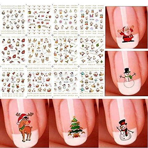 dingdangbell 12Bogen Weihnachten 3D Nail Art Sticker Schneeflocken & Süße Schneemänner (Nagel