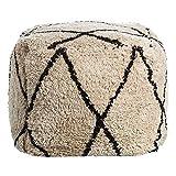 Puff de Pelo de algodón Natural Beige nórdico para salón Factory - LOLAhome