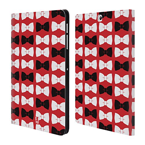 Head Case Designs Gentleman Bow Ties In Red Band Muster Brieftasche Handyhülle aus Leder für Samsung Galaxy Tab S2 9.7