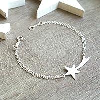 Stella cadente personalizzata braccialetto d'argento