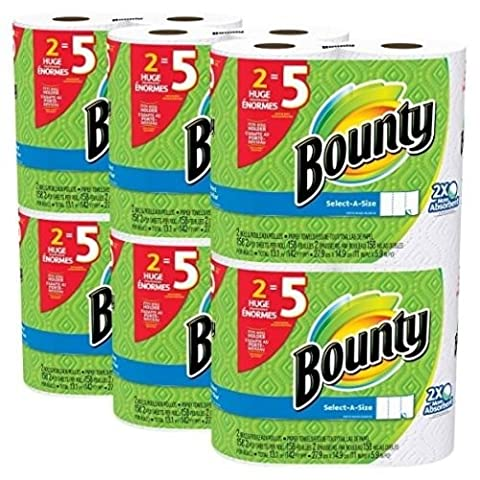 Bounty Select-a-Size Paper Towels, White, Huge Roll, 12 Count by Bounty