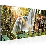 Bilder Wasserfall Leopard Wandbild 100 x 40 cm Vlies - Leinwand Bild XXL Format Wandbilder Wohnzimmer Wohnung Deko Kunstdrucke Grün 1 Teilig -100% MADE IN GERMANY - Fertig zum Aufhängen 013112a