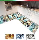 EMMEVI Teppich Küche Eck auf Maßnahme Fliese Maiolica Bordato Flachgewebe Rückseite rutschfest Verkäufer kontaktieren für Info Mod.Tapir 31 grau