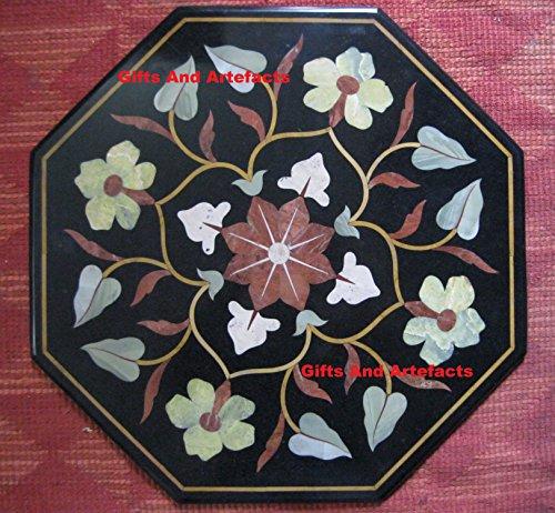 Gifts And Artefacts 58,4cm Octagon schwarz Marmor Sofa Tisch Top Cottage Kunsthandwerk Einlage Floral Design -