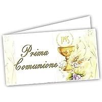 Gicaprice 60 Bigliettini Bomboniera Prima Comunione Personalizzati, con Stampa Omaggio, Pronti all'utilizzo (Modello 1)