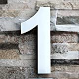 QT Moderne Hausnummer - Groß 20.3 Zentimeter - Gebürsteter Edelstahl (Nummer 1 Eins), Schwimmendes Aussehen, Einfache Installation und aus massivem hergestellt 304