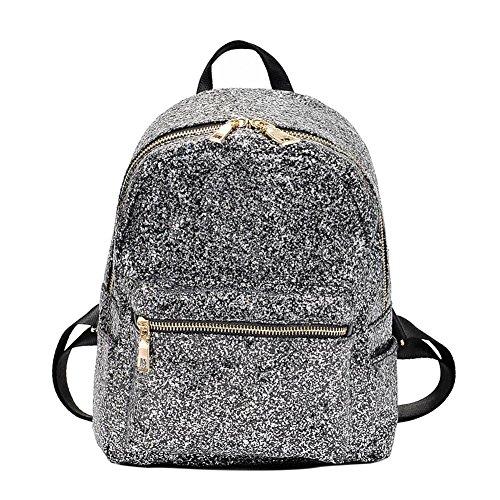 Demiawaking Zaino Casuale con Paillettes Glitterate Zaino di Viaggio Borsa da Scuola per Donne Ragazze (Nero)