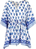 Guru-Shop Hippie Poncho, Kaftan, Tunika, Poncho Bluse, Damen, Weiß/Blau, Baumwolle, Size:One Size, Blusen & Tunikas Alternative Bekleidung