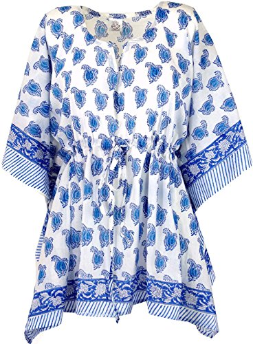 Damen Blusen Poncho Für (Guru-Shop Hippie Poncho, Kaftan, Tunika, Poncho Bluse, Damen, Weiß/Blau, Baumwolle, Size:One Size, Tunikas Alternative Bekleidung)