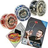 Yoyo Einsteiger-Set: 1x Jojo FAST 201, 1x Trick Lern DVD, 1x Fingerprotector + 7 Yo-Yo Ersatzschnüre (Rot)