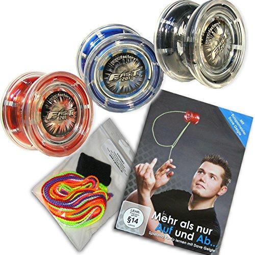 Preisvergleich Produktbild Yoyo Einsteiger-Set: 1x Jojo FAST 201, 1x Trick Lern DVD, 1x Fingerprotector + 7 Yo-Yo Ersatzschnüre (Blau)