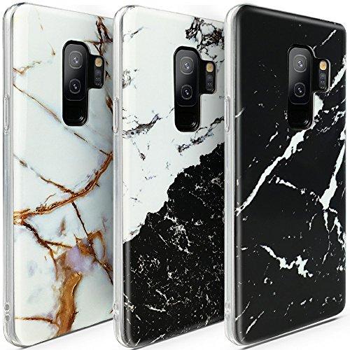 CLM-Tech kompatibel mit Samsung Galaxy S9 Plus Hülle 3X, TPU Gummi Case Silikonhülle Schutzhülle 3er Set, Marmor schwarz weiß Gold Mehrfarbig