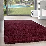 Unbekannt Shaggy Hochflor Langflor Teppich Wohnzimmer Carpet Uni Farben, Rechteck, Rund, Farbe:Rot, Größe:200x200 cm Quadrat