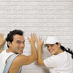 Kingko® 1PC 60 X 60CM PE Foam 3D DIY Wall Stickers Ceramic Tile Kid's Bedding Room Decor Embossed Brick Stone (White)