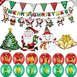 """JUZNOY Weihnachten Luftballons Set mit Merry Chritmas Banner, Weihnachtsmann und Wimpel Girlande, Weihnachtsmann / Weihnachtsbaum / Schneemann / Bell Folienballon, 12 Stück 12"""" Weihnachtslatexballons"""
