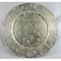 Vassoio tondo color Argento Diam 34 cm con bordo rialzato e manici - In plastica rigida