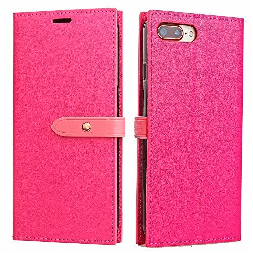 Ultra Thin Leight Gewicht PU Ledertasche Business Style Brieftasche Stand Case Retro Folio Tasche mit Gürtelschnalle & Card Slots für iPhone 7 Plus ( Color : Rose ) Rose
