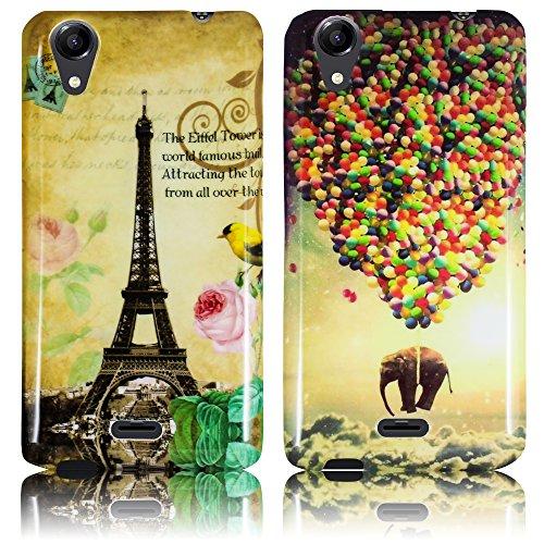 Wiko Rainbow UP 3G Silikon Schutz-Hülle 2x SET fliegender Elefant + La Tour Paris weiche (NICHT FÜR UP 4G) Tasche Cover Case Bumper Etui Flip smartphone handy backcover