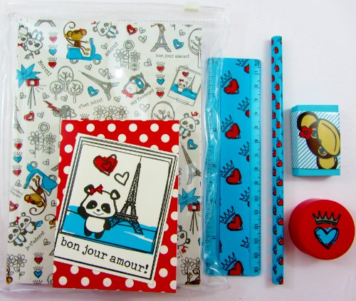 Sanrio Hello Kitty–Stationery Set: 2Notebooks, Radiergummi, Anspitzer und - Lineal-set Kitty Hello