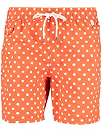 RALPH LAUREN Orange Polka Dot Swim Shorts, Small