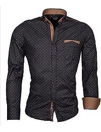 Brandneu !!! Designer Herren-Hemd von CARISMA in 3 Farben mit braunbeigefarbigen bzw. navyfarbigen Applikationen CRM8250