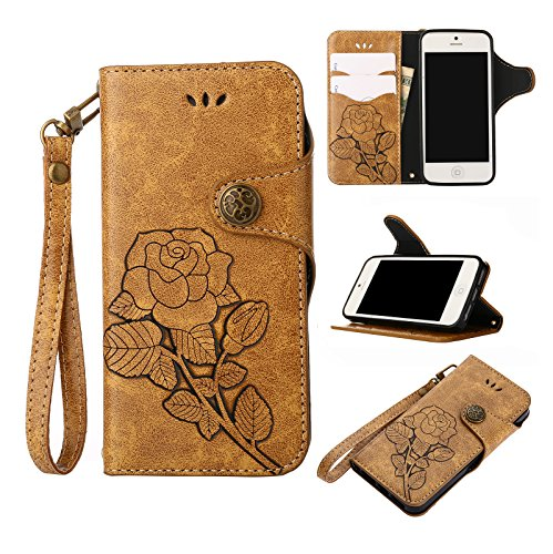 Price comparison product image For Xiaomi Mi 6 Case, Xiaomi Mi 6 Flip Case,  Ecoway Retro series Practical Multifunction Anti Scratch Flip Roses Painted pattern design PU Leather Stand Function Card Holder and ID Slot Case Cover Protective Skin Cover Leather Wallet Cases Flip Cover for Xiaomi Mi 6 - KHAKI