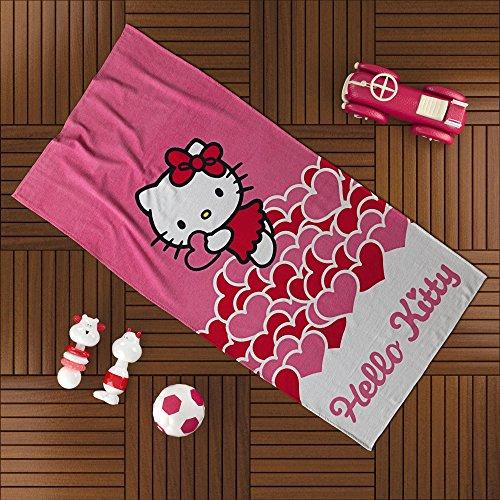 Ti Home HELLO KITTY Rosa Wanne Strandtuch für Schwimmen, Pool, Yoga und Spa (75x 150cm), Luxus Cartoon-Zeichen bedruckt 100% reine Baumwolle