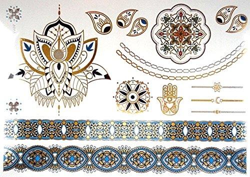 tatouages temporaires tatouages éphemères couleurs et doré PROMO TATOUAGES (si vous désirez achetez plusieurs planches : 2 achetées au choix = 2 gratuites en plus au choix. 3 achetées au choix = 3 gratuites en plus au choix. 4 achetés au choix = 4 gratuites en plus au choix. 5 achetés au choix = 5 gratuites en plus au choix). TATOUAGES METALLIQUES TEMPORAIRES DOREE ET ARGENTEE NON TOXIQUE. Waterproof.