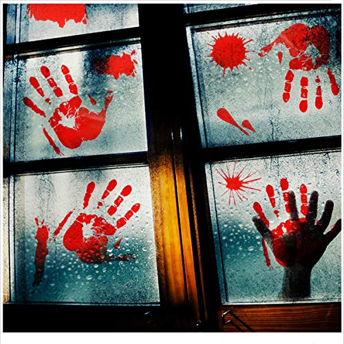 40 Stück blutige Handabdrücke Fußabdrücke Halloween Fenster Boden Aufkleber - Vampir Zombie Party Dekorationen Aufkleber Supplies (Halloween Fenster Aufkleber)