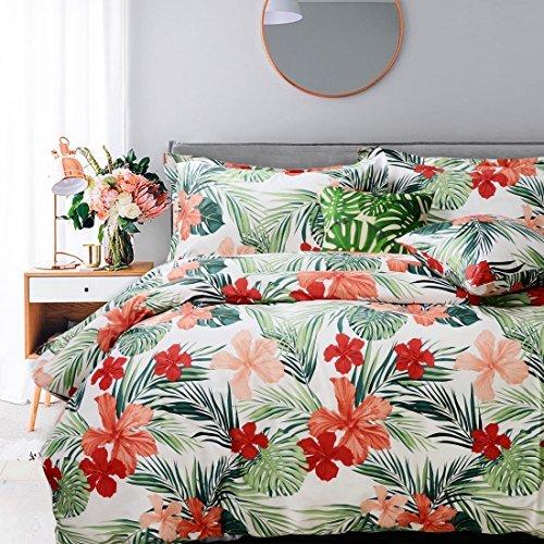 FADFAY 4-teiliges Shabby Floral Bettwäsche-Set Baumwolle Bettwäsche, Baumwolle, Hibiskus, Queen (Queen Floral Baumwolle Bettwäsche)