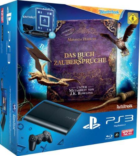 PlayStation 3 - Konsole Super Slim 12 GB (inkl. DualShock 3 Wireless Controller + Move Starter Pack + Wonderbook: Das Buch der Zaubersprüche) - 12 Gb Flash