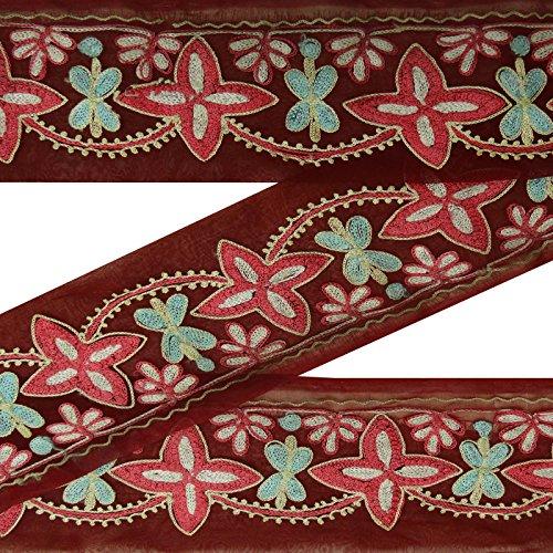 Jahrgang indische Antike gestickte Maroon Sari Border Nähen 1YD Ribbon Trim -