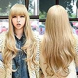 Perücke, blasses Gold wellenförmige Qi Pony-lange lockige Haar-Perücke Hitzebeständige synthetische Haar-Haut-Oberseiten-lange flaumige Haar-Reparatur-Gesichts-Frisur-Frauen Cosplay