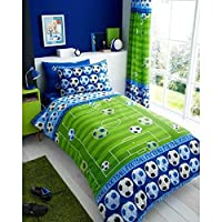 T&A Textiles and Hosiery Ltd Football Goal Shoot Kid Boys Single Bed Duvet Quilt Cover Bedding Set Green Blue