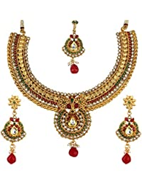 Penny Jewels Traditional Golden Non-Precious Latest Necklace With Earrings Set & Maangtika Set For Women & Girls