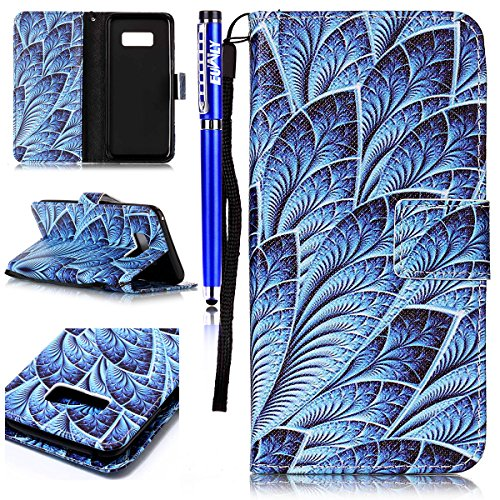 FESELE Lederhülle für [Samsung Galaxy S8] Leder Flip Case, Lanyard Strap Flip Brieftasche Ledertasche im Bookstyle Handyhülle mit Standfunktion Kartenfach Bunt Leder Butterfly Case Muster Silikon Rück Kokosnuss Blatt