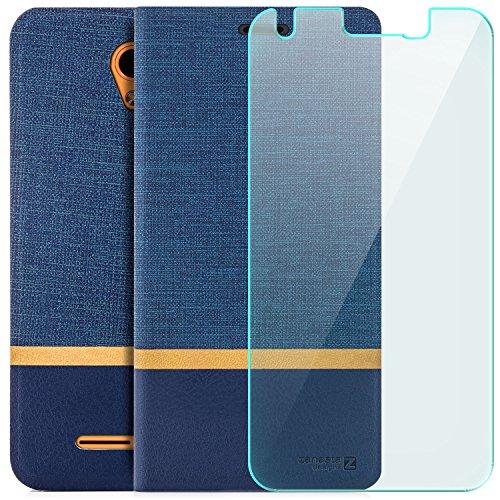 zanasta Designs Tasche + Displayschutz ZTE Blade L110 Hülle Flip Case Schutzhülle Handytasche mit Kartenfach Blau
