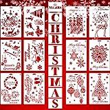 Outus 22 Stücke Weihnachten Schablonen Vorlagen Wiederverwendbare Handwerk Weihnachtsbriefe Kunst Zeichnung Malerei Vorlagen für Fenster Glas Tür Karosserie