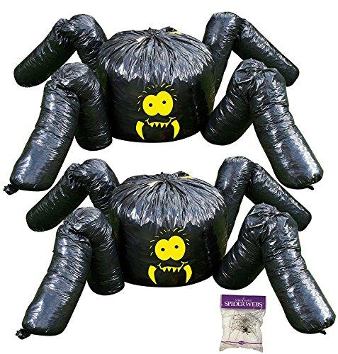 Potomac Banks Bundle: 3 Stück - (2 Stück) Riesenspinnenblattbeutel und gratis Spinnennetz (Hof Dekorationen Halloween-friedhof)